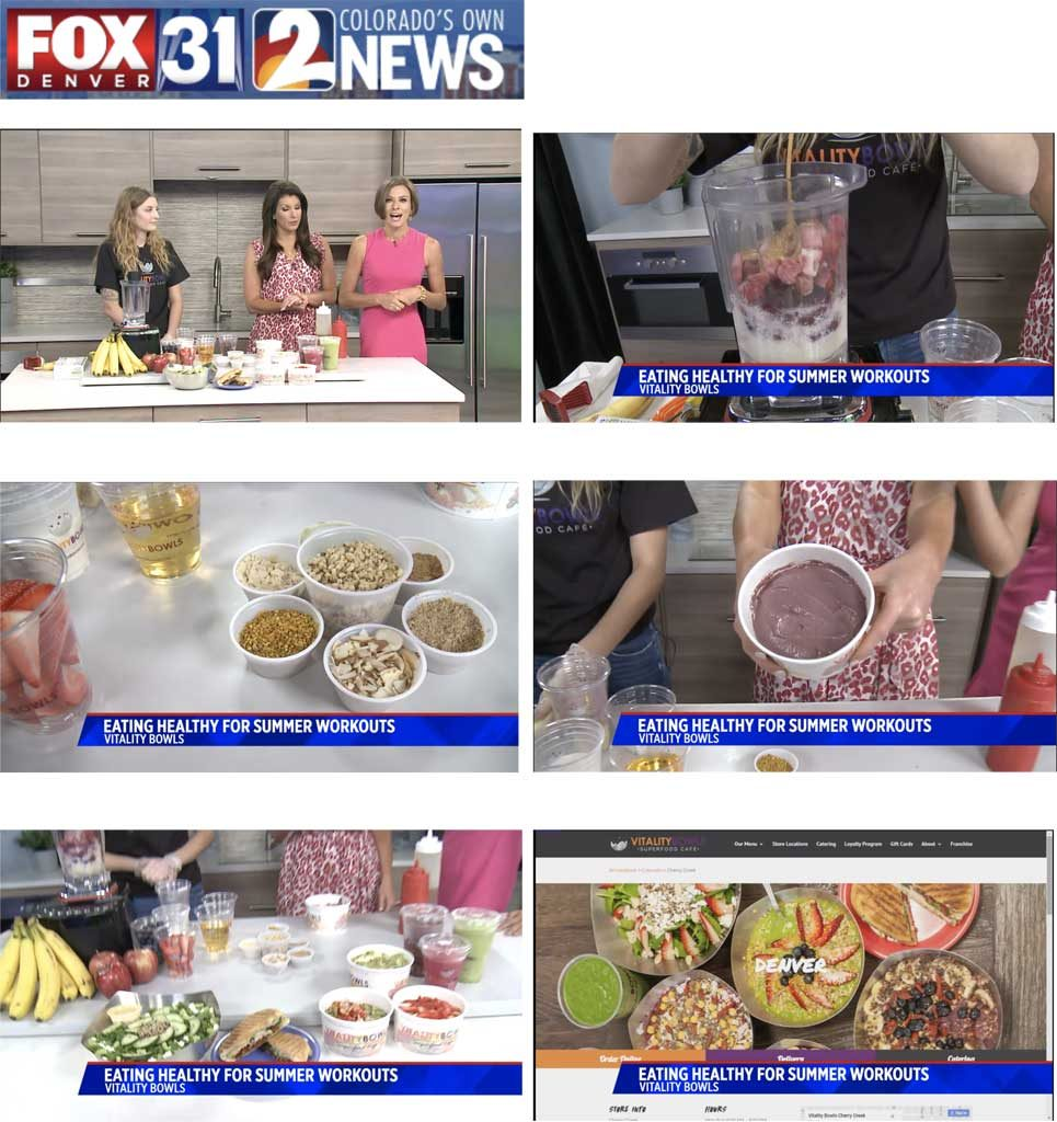 Vitality Bowls on KDVR FOZ31 Denver, Colorado showing eating healthy for summer workouts.